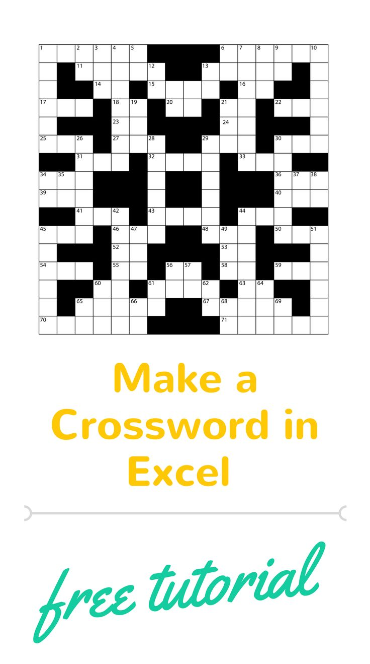 how to make crossword puzzles in excel