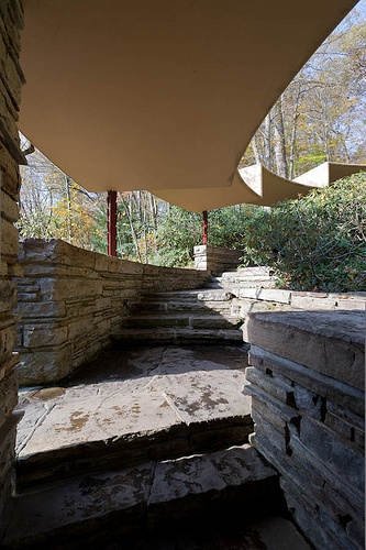 Covered walkway to the guesthouse, Fallingwater. Frank Lloyd Wright. 1936-1939, Bear Run, Pennsylvania
