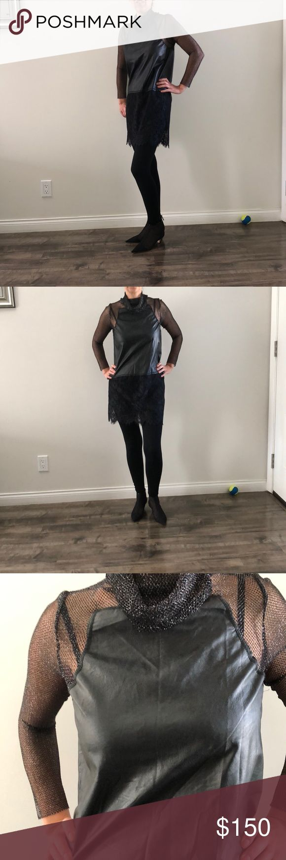 Black evening top with mesh net sleeves Black evening top with mesh net sleeves with faux leather front. Made in Italy. NWT. Vanessa Scott Tops Blouses