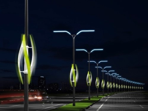 Turbine light. Wind powered light uses the moving air from cars zipping by on the highway to generate energy that can be used to power roadside lighting.