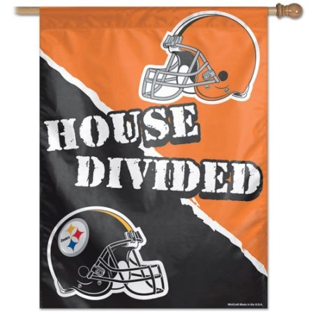 HOUSE DIVIDED VERTICAL FLAG STEELERS VS BROWNS