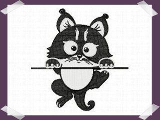 10EMBROIDERY Patroon Zwarte Hangende Kat (11K)