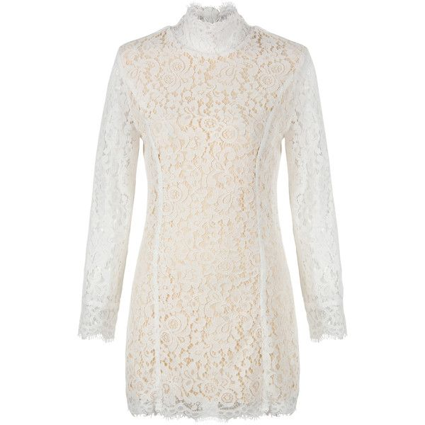 White High Neck Lace Long Sleeve Dress (£34) ❤ liked on Polyvore featuring dresses, high neck white dress, longsleeve dress, white long sleeve dress, high neck lace dress and high neck long sleeve dress