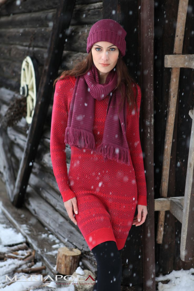 """""""Pretty in Scarlett"""" Mariapola Knitwear in Merinos Wool. Italian Manifacture and Fashion. Fall Winter 2014-2015.#winter#girl#freedom#natural#snow #red #scarlet #body"""
