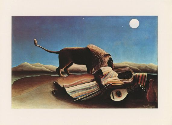 Woman Sleeping In Desert By Guitar And Jar While Lion Sniffs Hungrily In Moonlight, Gypsy Asleep, Henri Rousseau, Antique Print, 1975