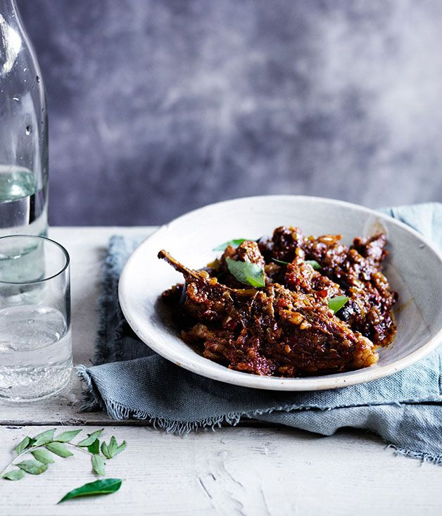 "The Australian people , just go ""bananas"" about this recipe! Dry curry of lamb and eggplant"