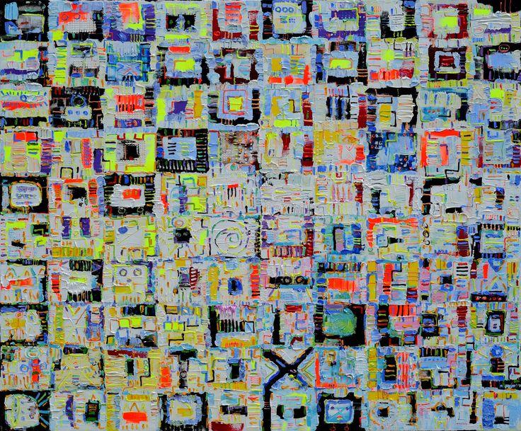 """KRZYSZTOF PAJĄK 2016r., """" Biały układ scalony"""" 100x120cm.,olej na płótnie ( obraz nr 952)"""