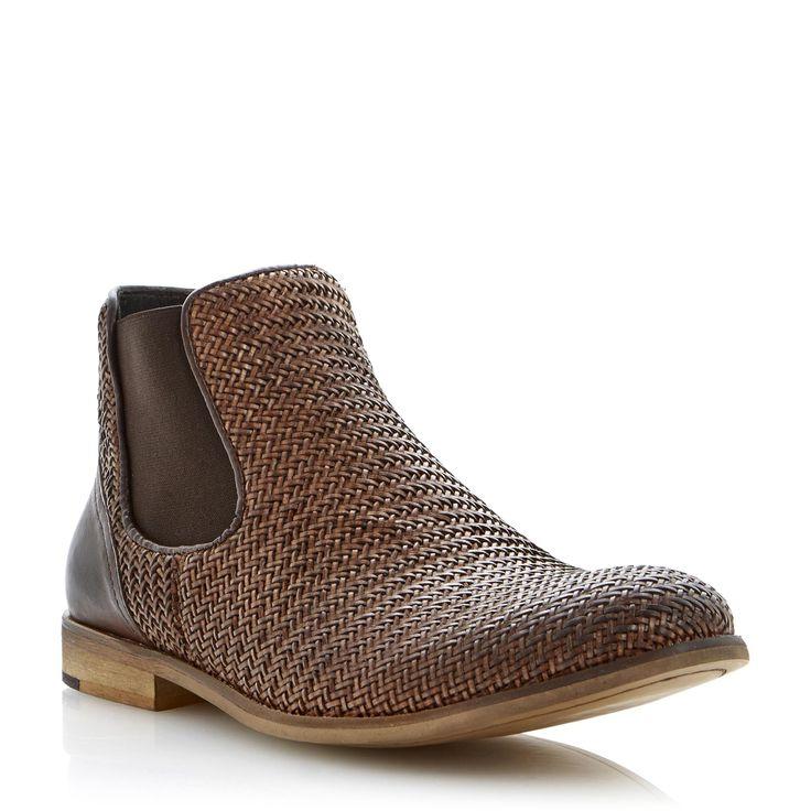 BERTIE MENS CRISS CROSS - Woven Leather Chelsea Boot tan | Dune Shoes Online. £110...