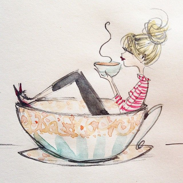 I love Anne Higgins illustrations- they are all so beautiful.   This one just covers my love for coffee. :))