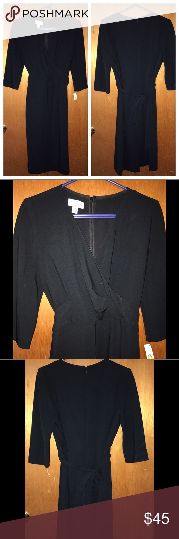 """Talbots black dress size 8 New New with tags, size 8 career dress 3/4 sleeves. Invisible back zipper Tie in back at waist 71% triacetate, 29% polyester Fully lined polyester 38"""" bust, 32"""" waist 40"""" long from back neckline to hem 7"""" split hem in back  (My item C10) Talbots Dresses Midi"""