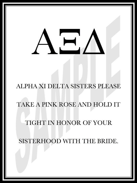 Alpha Xi Delta Sisters Wedding Sign by WeddingsByJamie on Etsy