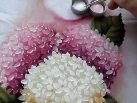 Pintura em tecido hortênsias - YouTube