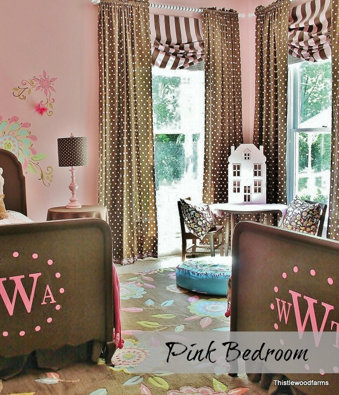 Thistlewood Farm Pink Bedroom ... This would be an easy way to convert Kalleigh's room from baby to little girl (you could keep the same color theme) @april Bertrand