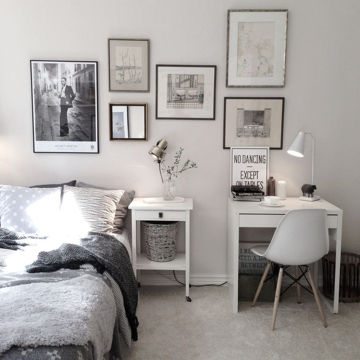Charming Bedroom With Small Work Space With Ikea Micke Desk