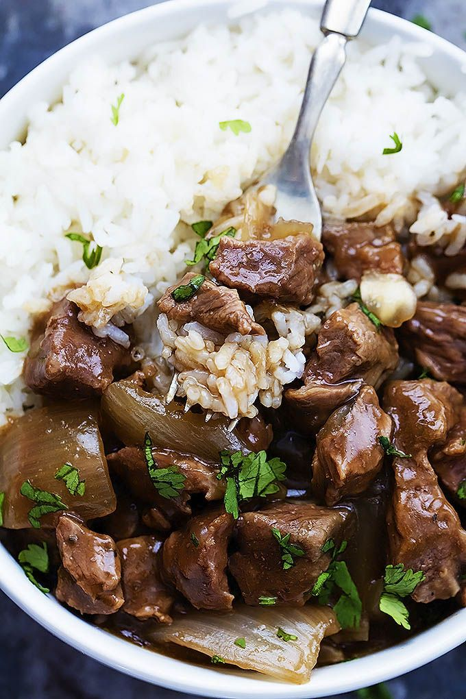 Slow Cooker Beef on Rice  2 pounds beef chunks (aka: stew meat ) 4 cups beef broth 1 onion, chopped 1 teaspoon Italian seasoning 2-3 teaspoons salt (or to taste) 1 teaspoon black pepper ( or to taste) ¼ cup cold water 3 tablespoons corn starch 4-6 cups cooked white or brown rice
