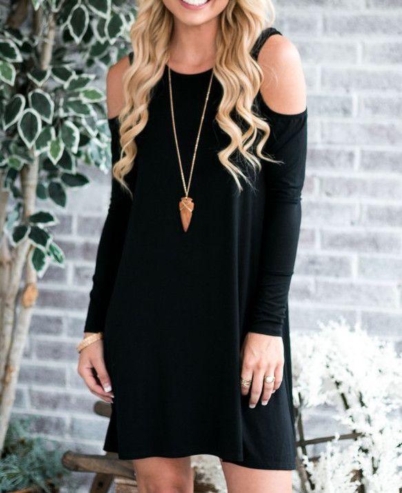 Oliver Cold Shoulder Dress - Black