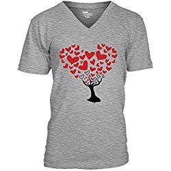 Tree of Heart - Love Valentine day Gift Men's V-neck T-Shirt Tee (XL, LIGHT GRAY)