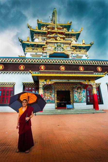 A monk with an umbrella.