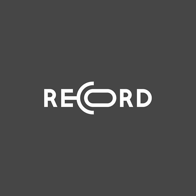 "This is a good example of a logo design. The reason why is because it spells out the word ""record"", while the letters ""e"", ""c"", and ""o"" are being used to make the microphone symbol for record."