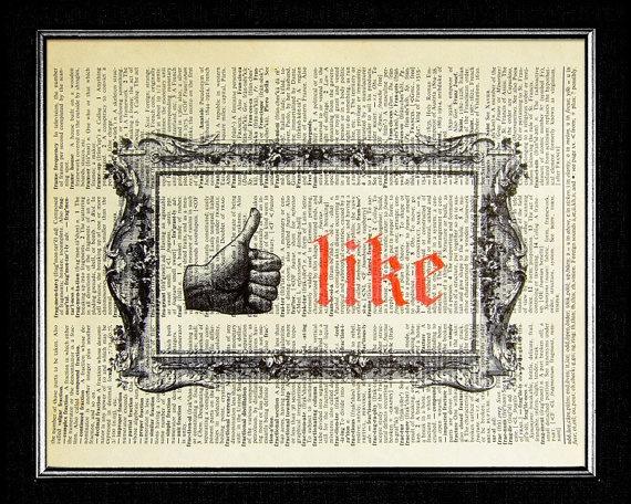 Facebook Antique Style Like Button  ORIGINAL ARTWORK by popcapopca, $10.00