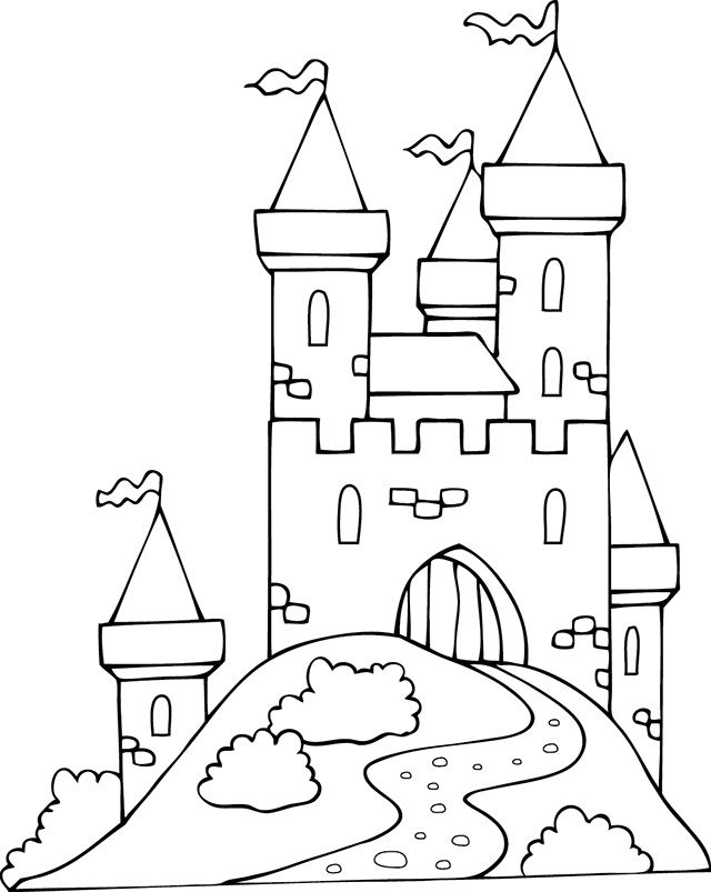 Coloriage Chateau Fort A Imprimer In 2020 Art Diagram