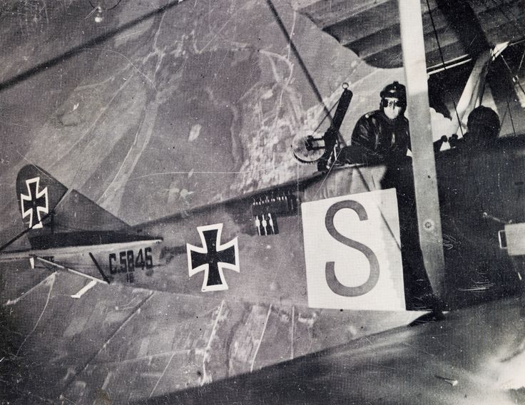 WWI; Photo of a two-seater crew over the Western Front.