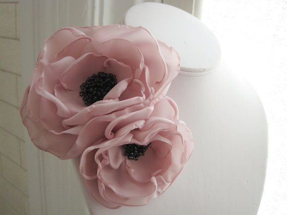 fabric flower brooch  corsage pin in parfait pink and by RiRiFisch, $30.00