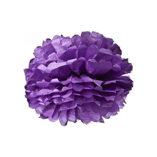 Pompons en papier violet - http://www.mariageenvogue.fr/s/31763_190943_-4-pompons-en-papier-violet-35-cm