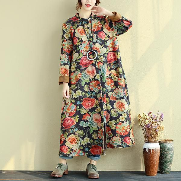 Material:cotton,polyester,spandex Collar type: stand collar Clothing placket: single breasted Pattern: floral Style: commuter,literature Sleeve: long sleeves C