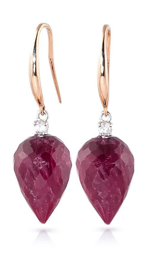 9ct Rose Gold 26.10ct Ruby Fish Hook Earrings