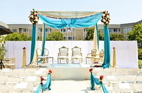 simple blue color themed mandap