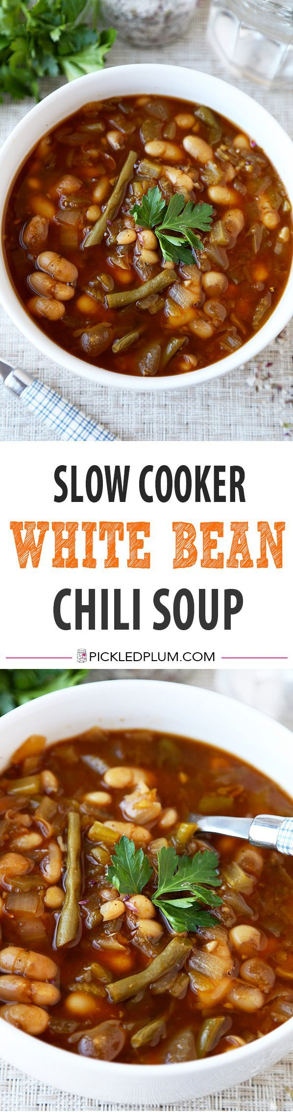 Slow Cooker White Bean Chili Soup - A healthy and comforting slow cooker white bean chili soup that takes less than 10 minutes to prep! Vegan, gluten free, healthy, easy, recipe