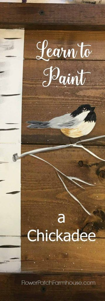 Learn how to paint a chickadee, stroke by stroke.  Great for crafts, DIY Decor, decorative painting and more.  Create your own wall art or pallet signs.  Easy enough for the entire family to learn.