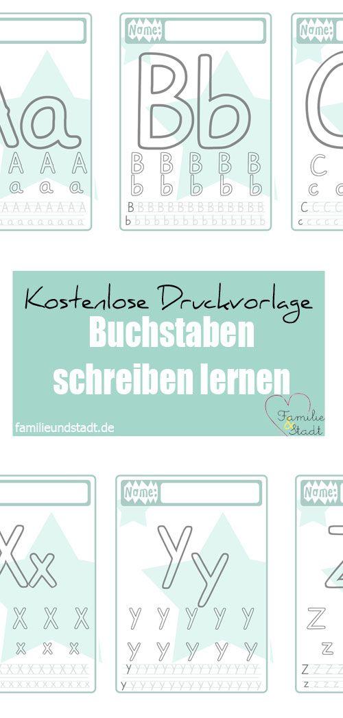 Kostenlose Druckvorlage Alphabet schreiben mit Kinder für Vorschule und Grundschule, Buchstaben drucken für Kinder 1. Klasse, Beschäftigungsidee, free printable