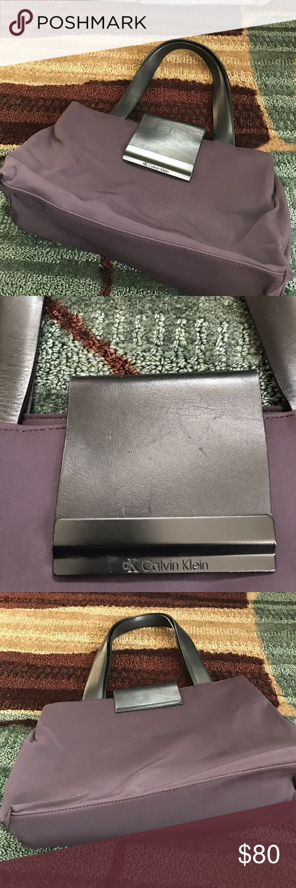 """Beautiful light weight bag This bag is so nice light weight leather straps zip pocket inside interior like new 15"""" x 9"""" deep purple color Calvin Klein Bags Shoulder Bags"""