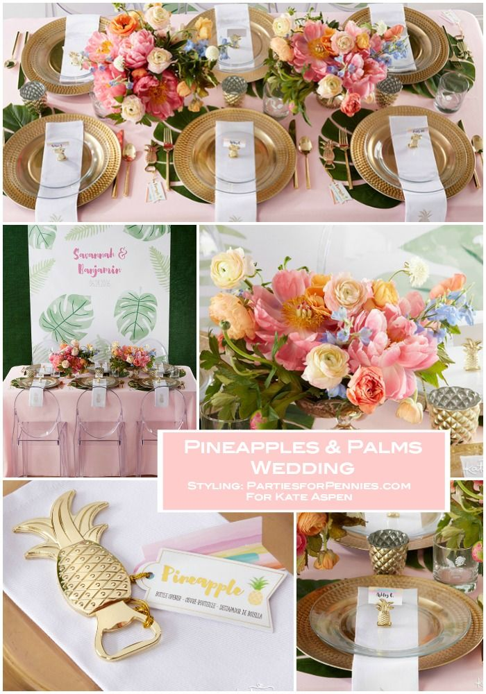 Pineapples & Palms Wedding with KATE ASPEN | Styling & Concept by PartiesforPennies.com | Palm Springs vibe, Wedding Planning, Wedding Inspiration, Pink, Green, Yellow, Palm, Pineapple, Wedding Reception, Tablesetting