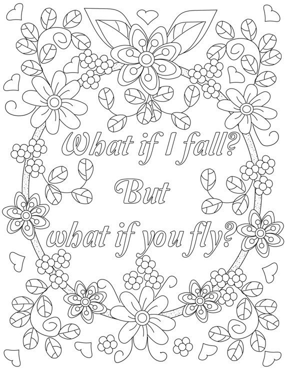 adult colouring page for chronic pain or stress inspirational quotes a positive uplifting by - Pictures For Colouring