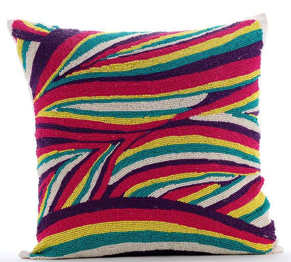 """Multicolor Love - Multi 16""""X16"""" Silk Pillows Covers For Couch"""