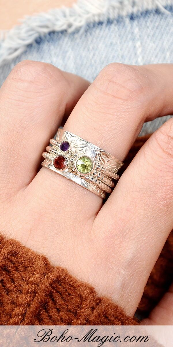 c888d3c79 Multi Gemstone ring, Spinner rings womens, sterling silver ring, handmade  jewelry, meditation ring, wide band worry ring, spinning ring, gemstone  bands, ...