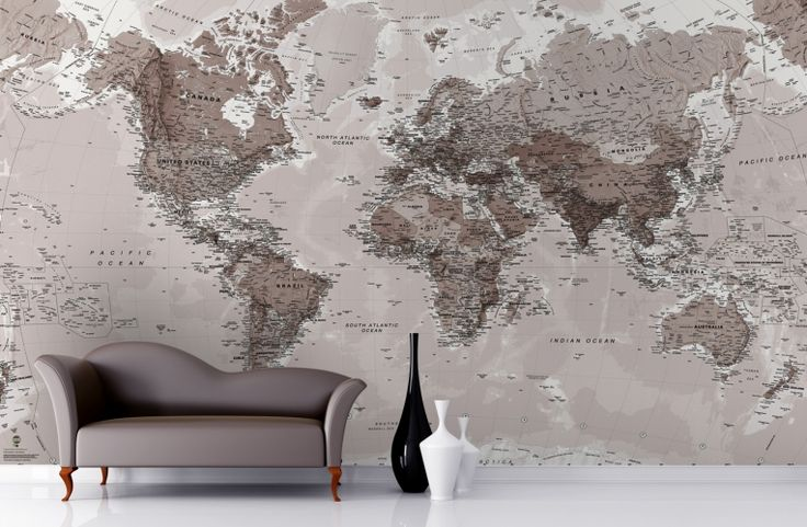 Neutral shades world map wallpaper mural neutral tones for Antique map wallpaper mural