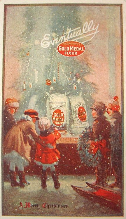 This 1920 Gold Medal Flour ad captured the magic and wonder of the winter holiday season.