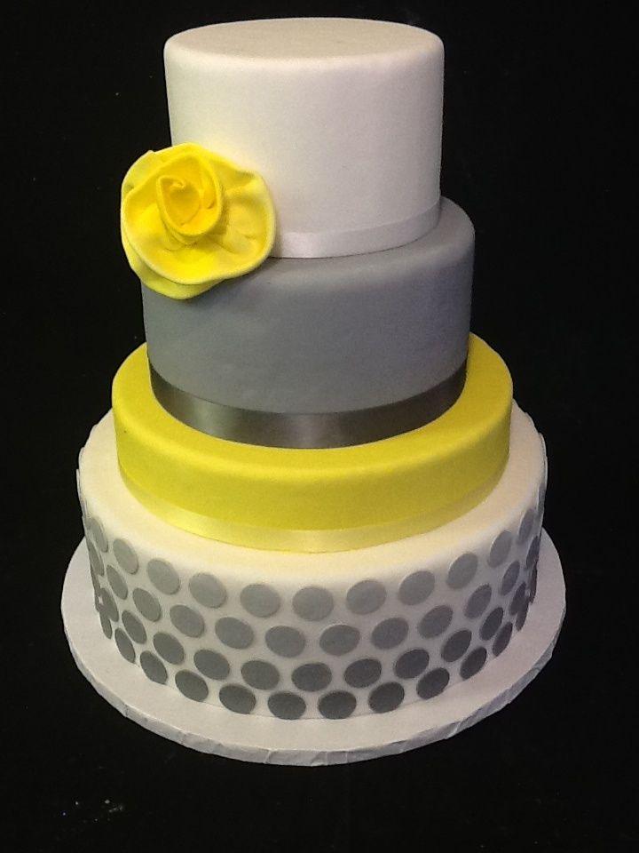 Wedding Ideas: Grey and Yellow Wedding Cake