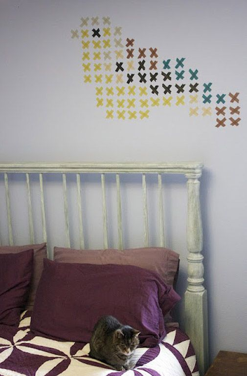 washi tape wall art. blogged here:  http://colourfulway.blogspot.com/