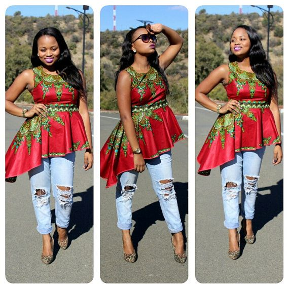 ON SALE African Print Top; African Print; African Clothing; African Top; African Fashion; Red Dashiki Peplum Top Check out this item in my Etsy shop https://www.etsy.com/listing/241162969/on-sale-african-print-top-african-print