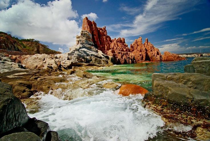 Gli scogli rossi, ad Arbatax - Pink rocks in Arbatax (Click to listen;)