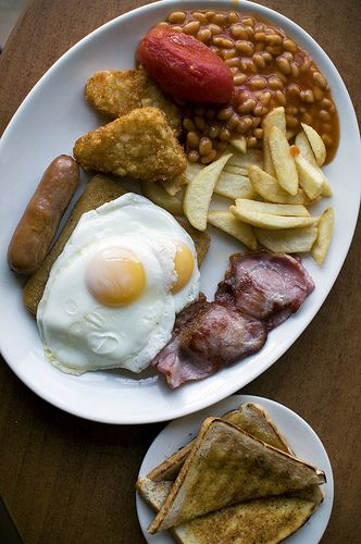 English breakfast. I've always loved eating beans for breakfast. People thought I was weird for doing this, but not the English!