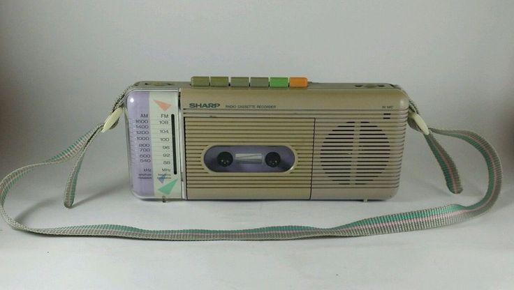 SHARP QT-5 AM/FM Portable Radio cassette 1980s Tan Beige #Sharp