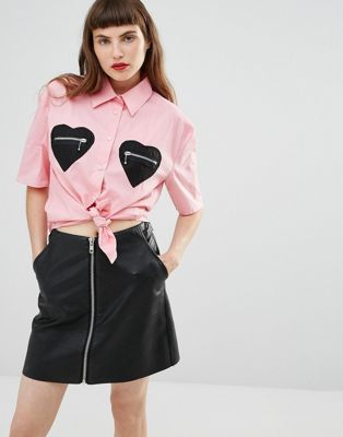 Love Moschino Shirt with Heart Pockets