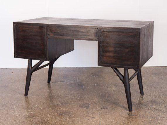 1950s Ebonized Black Oak Five Drawer Desk For Vanleigh Desk With
