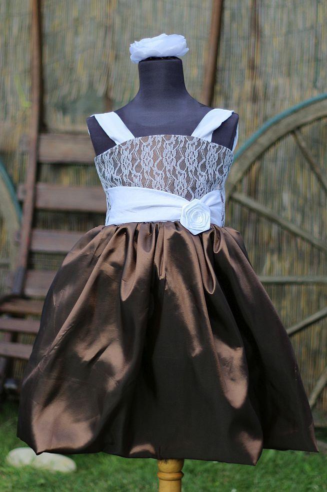 Dětské hnědé šaty na svatbu - dětské šaty pro družičky - dětské šaty společenské -  Svatební studio Nella Česká Lípa